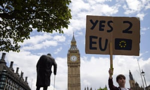 A demonstrator holds a placard during a protest against the outcome of the EU referendum