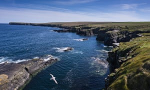 The rugged cliffs of Odinn Bay, Stronsay, Orkney, Scotland.