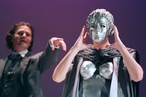 Robert O'Mahoney with Scott (masked) in The Secret Fall of Constance Wilde at the Barbican in 2000