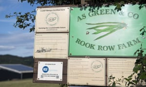 A sign at the entrance to the AS Green and Co farm in Mathon, Herefordshire