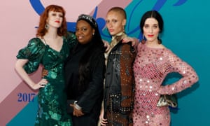 Pat McGrath second from the left, with models Karen Elson, Adwoa Aboah, and actor Sophie Flicker at a gathering in New York.