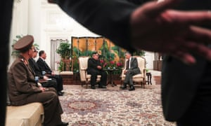 Photographers are kept back from a meeting between North Korean leader Kim Jong-un and Singapore prime minister Lee Hsien Loong.