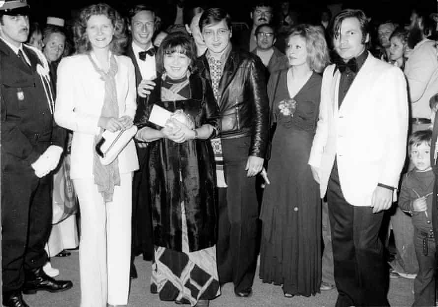 Hermann, second from left, with Rainer Werner Fassbinder and others at Cannes in 1974.