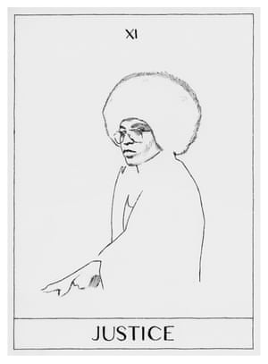 Justice (Angela Davis), The Art World Tarot, 2018, by Mieke Marple A project from artist and gallerist Mieke Marple, the art world tarot reinterprets the tarot arcana, transforming the cards into expressive black-and-white imagery. It showcases important cultural figures as representative of traditional tarot archetypes. Here the activist and author Angela Davis is depicted.