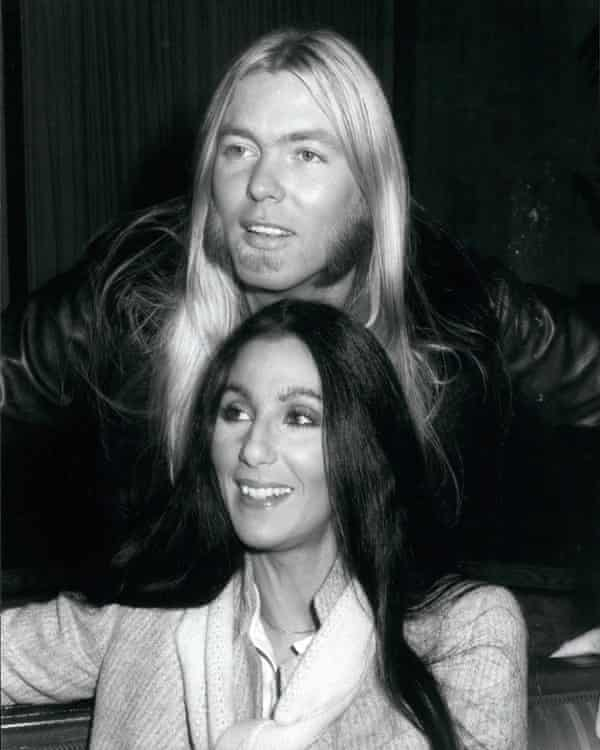 Gregg Allman with his wife, Cher, in 1977.