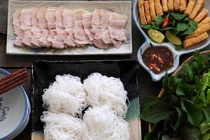 Delicious Vietnamese food, bun dau mam tom, popular street food from vermicelli with boiled meat, fried tofu, shrimp paste, green vegetables, cucumber