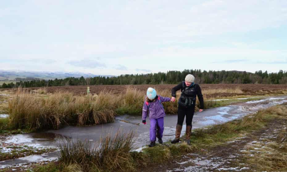 Ann and daughter 'ice-skating' in Northumberland