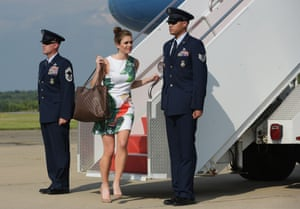 Getting off Air Force One upon arrival in Morristown, New Jersey.