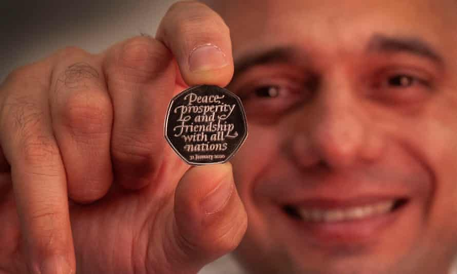 Sajid Javid with the commemorative Brexit 5op coin