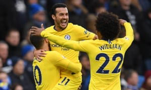 Pedro celebrates after scoring Chelsea's first goal.