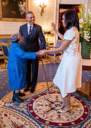 Michelle Obama dances with 106-year-old Virginia McLaurin