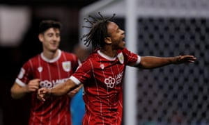 Bobby Reid celebrates after giving Bristol City the lead at Vicarage Road.