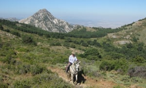 Man on horseback in Sierra Nevada, Spain