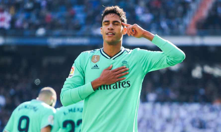 Raphael Varane celebrates scoring for Real Madrid against Espanyol in 2019.