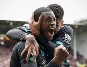 Gini Wijnaldum celebrates after scoring the only goal of the game in a hard-fought win at Sheffield United.