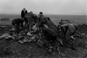 Unemployed men gathering coal in Sunderland in the early 1970s.
