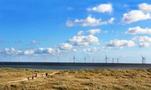 A wind farm off the coast of Lowestoft in Norfolk.