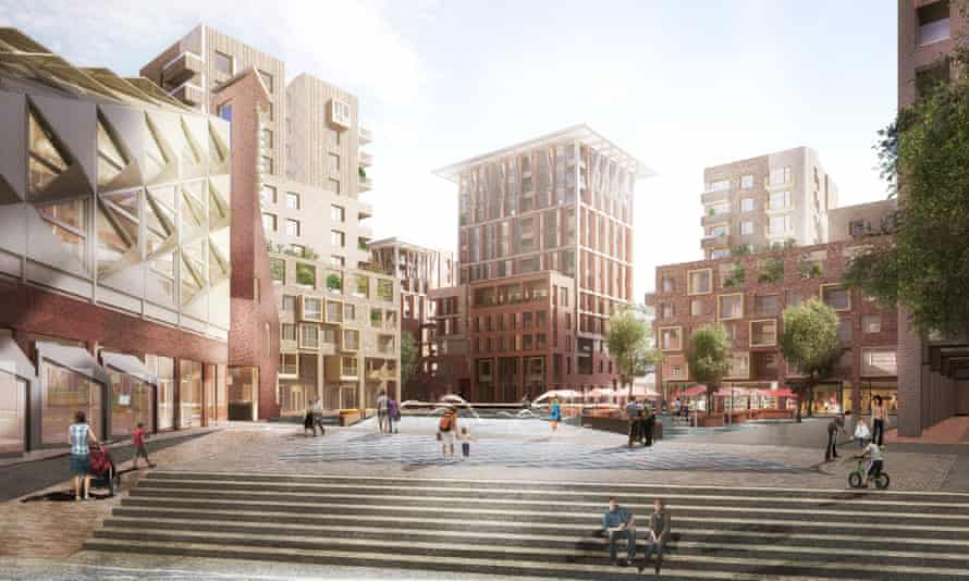 An artist's impression of the square at Southmere village
