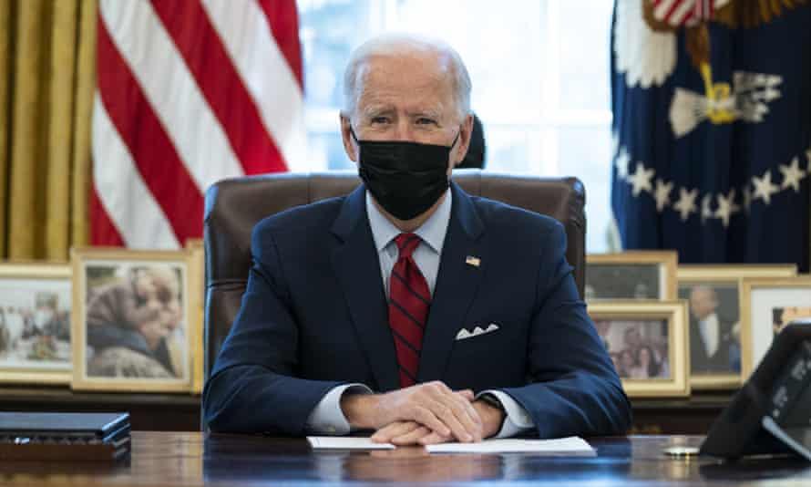 Joe Biden in the Oval Office on 28 January.