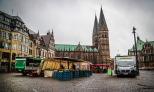 An almost deserted farmers' market in the centre of Bremen, northern Germany