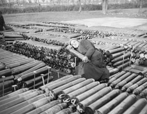 William Joseph Brunell An Italian Female Worker Employed by the British Army, Lying on 18 Pounder Shells November 1918