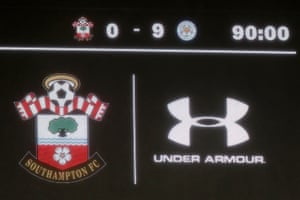 The big screen shows the 9-0 scoreline after the match between Southampton and Leicester at St Mary's.