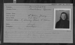 Identity card of Kathleen Duckworth
