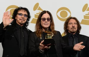 Tony Iommi (L), Ozzy Osbourne (C) and Geezer Butler (R) of Black Sabbath pose in the press room after winning Best Metal Performance for 'God is Dead?' during the 56th Grammy Awards at the Staples Center in Los Angeles, California, January 26, 2014.