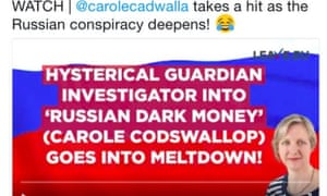 Leave.EU tweets about Russia and Carole Cadwalladr.