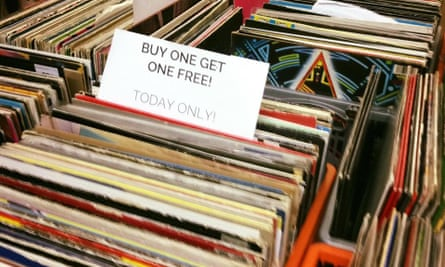 Crate of secondhand vinyl at Beatdown Records, Newcastle