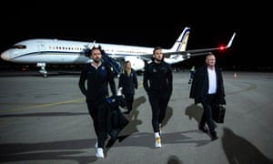 Gareth Southgate, Harry Kane and Greg Clarke arrive at Pristina airport.