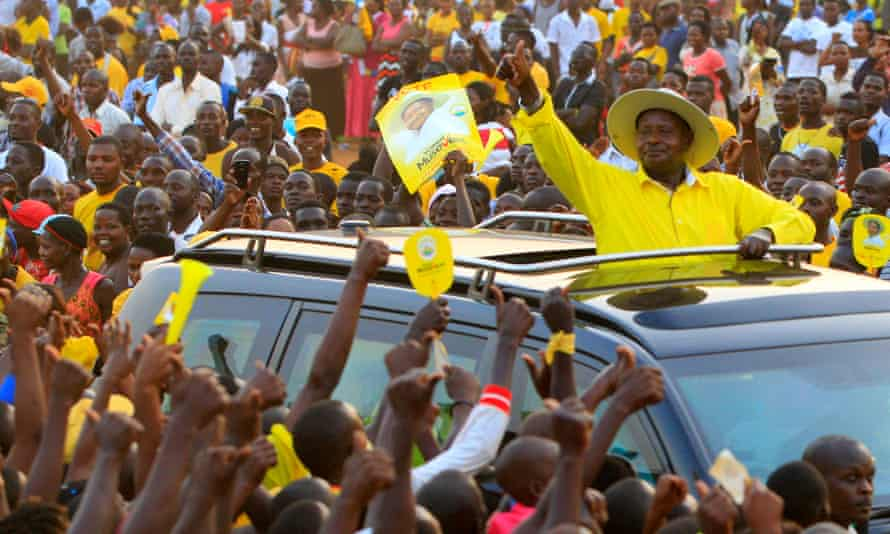 President Museveni arrives at a campaign rally in Entebbe