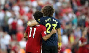 Salah and Luiz at the final whistle.
