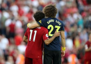 Liverpool's Mohamed Salah and Arsenal's David Luiz after the match in which Salah scored twice.