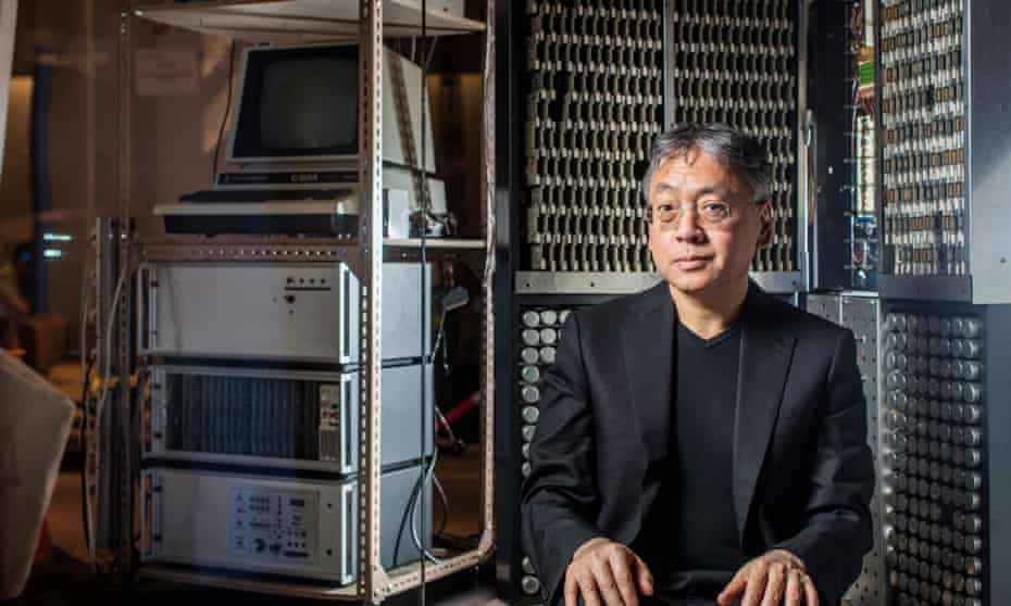 Kazuo Ishiguro at the Science Museum in London ahead of the opening of a new permanent mathematics gallery, which features a machine to predict coastal storm surges built by his oceanographer father.