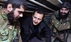 President Bashar al-Assad and Syrian soldiers
