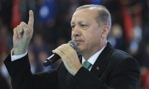 Recep Tayyip Erdoğan at a rally in eastern Turkey