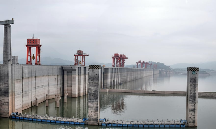 The Three Gorges Dam on the Yangtze River, China is the largest concrete structure in the world.