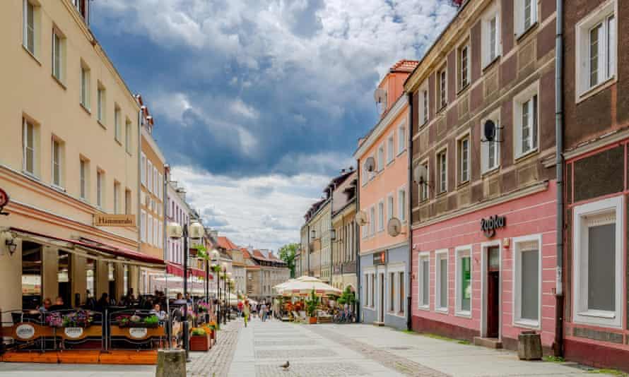 Prosta street in Olsztyn old town.