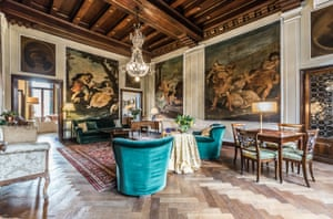 Perotti's work in the palazzo is believed to have been done in the early part of his career when he took commissions throughout northern Italy, before he moved to London with his fellow artist wife Angelica le Gru. The murals in the apartment are considered excellent examples of his work listed by the Accademia di Belle Arti di Venezia, the public tertiary academy of art in Venice.