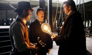 Andy Serkis, David Bowie and Hugh Jackman in The Prestige