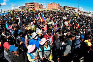 Locals attend the funeral procession of eight supporters of Bolivia's ex-President Evo Morales.