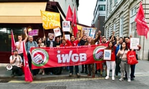 Members of the Independent Workers Union of Great Britain picket outside 5 Hertford Street in Mayfair, London.