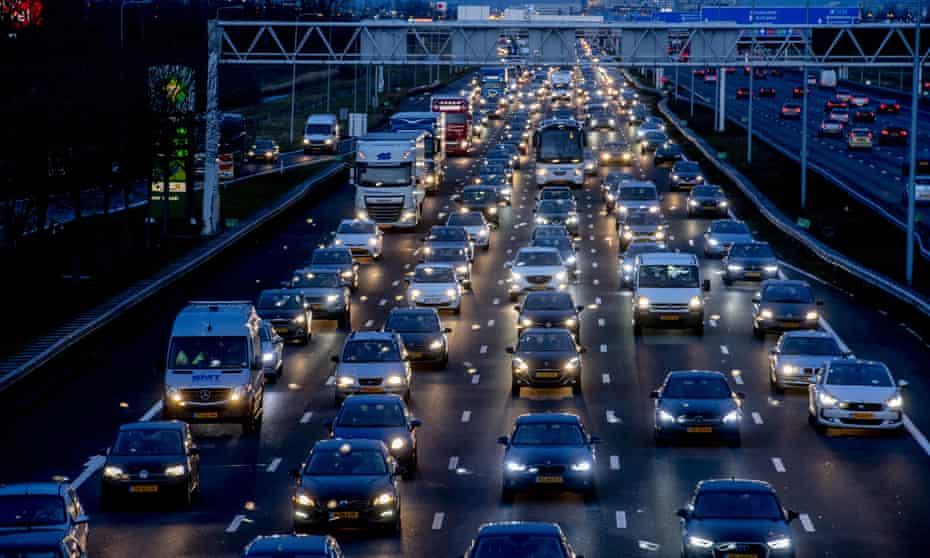 A traffic jam in Amsterdam