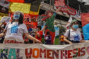 The Philippines In Manila, marchers, including members of militant groups, walked to the palace of President Rodrigo Duterte with banners and placards.