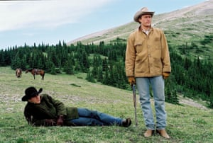 There's something in the air … Jake Gyllenhall and Heath Ledger in Brokeback Mountain.