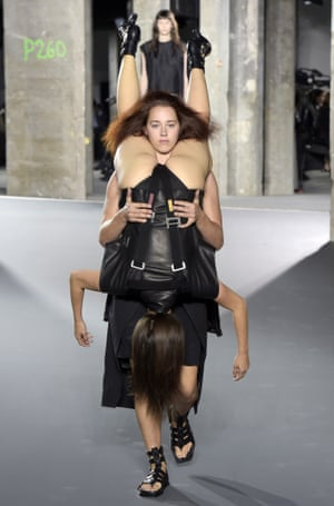 A model on the Rick Owens 2016 catwalk