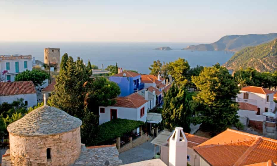 View over old town, Alonissos, Greek Islands