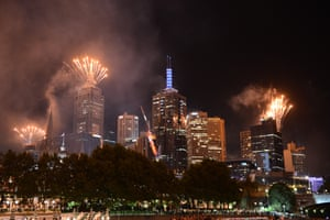 Fireworks light up the sky within the New Year's Eve celebrations in Melbourne, Australia