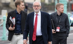 Jeremy Corbyn with Seumas Milne, left, and Andrew Fisher